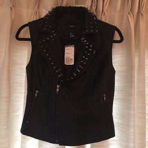 Faux Leather Motorcycle Vest with Gunmetal Studs
